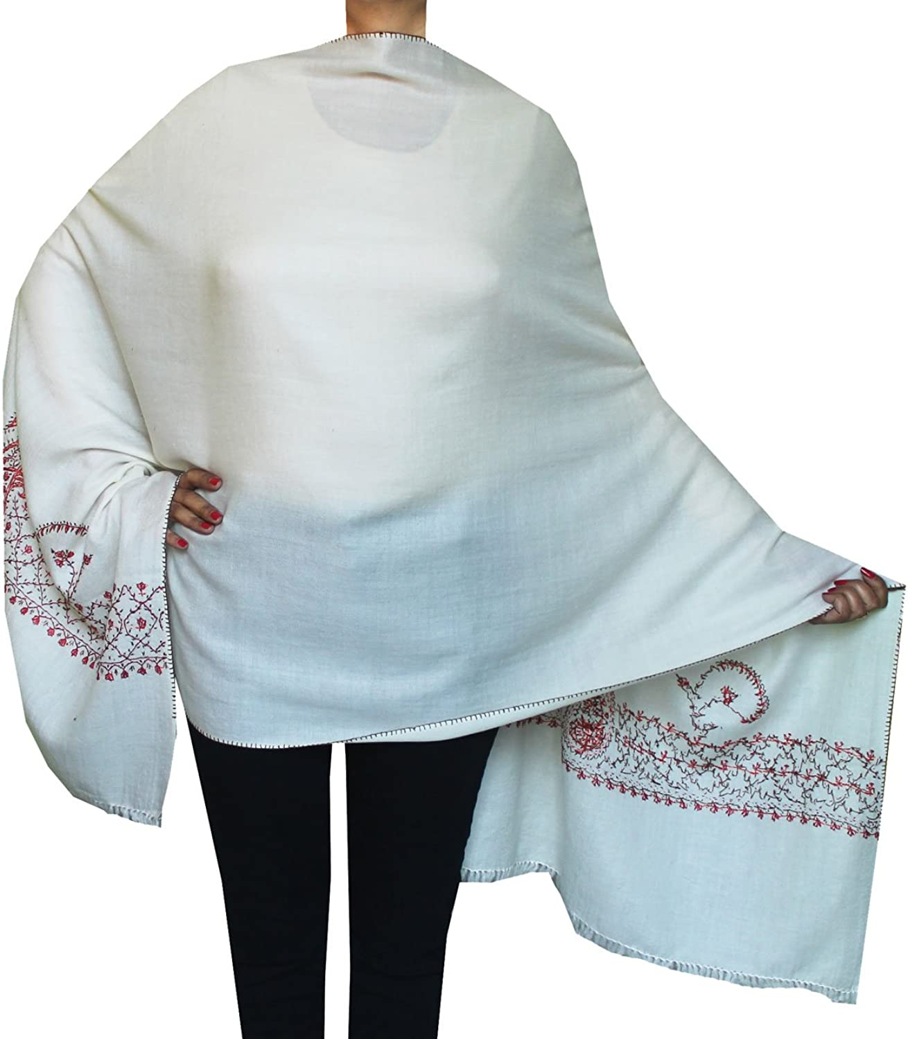 Maple Clothing Woolen Hand Embroidered Scarf Shawl Womens Gift (OffWhite)