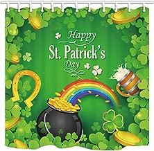 Happy St Patrick/'s Day Leprechaun Clover Truck Shower Curtain Set Bathroom Decor
