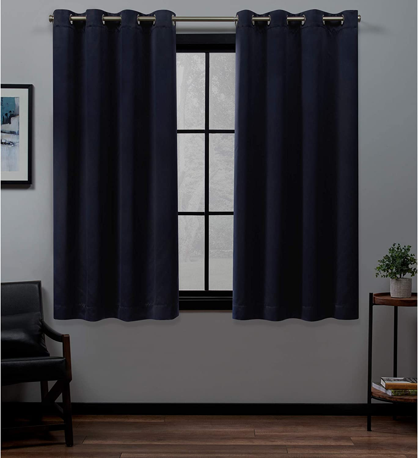 Exclusive Home Academy Total Blackout Grommet Top Curtain Panel Pair, Navy, 52x63, 2 Piece