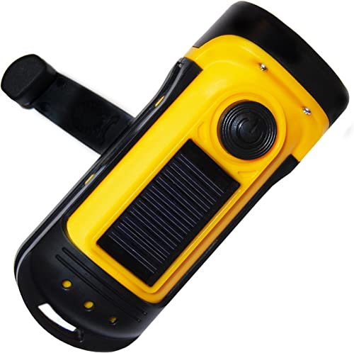 lowest PrimalCamp online sale high quality Hand Crank Solar Powered Flashlight: Rechargeable Survival Gear LED Self Powered Charging Torch & Dynamo - Best for Fishing Boating Hiking Backpack Camping Safety Weather Emergency Pack online