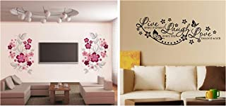 Decals Design 'Live Laugh and Love Family' Wall Sticker (PVC Vinyl, 45 cm x 30 cm, Black) & 'Flowers with Vine' Wall Stick...