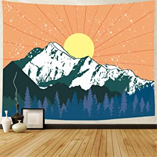 Amhokhui Mountain Tapestry Forest Trees Tapestry Watercolor Sun Tapestry Abstract Snow Mountain Nature Landscape Tapestry Wall Hanging for Room Decor(59.1 x 78.7 inches