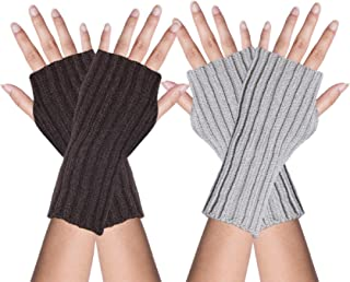 5419acb90 YSense 2 Pairs Womens Winter Warm Hand Crochet Knit Thumb Hole Fingerless  Arm Warmers Gloves