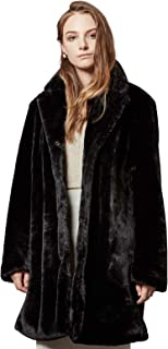 Womens Faux Fur Coat Trench Winter Warm Thick Overcoat Fluffy Top Jacket with Pockets