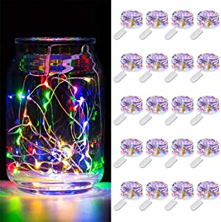 MUMUXI 20 Pack Fairy Lights Battery Operated, 3.3ft 20 LED Mini Waterproof Fairy String Lights Silver Wire Firefly Starry ...