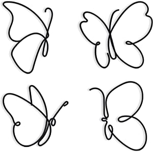 Metal Butterfly Wall Decor (4 Butterflies) Butterfly Metal Wall Art, Metal Wall Decor Hanging for Indoor and Outdoor Living Room Kitchen & Bedroom