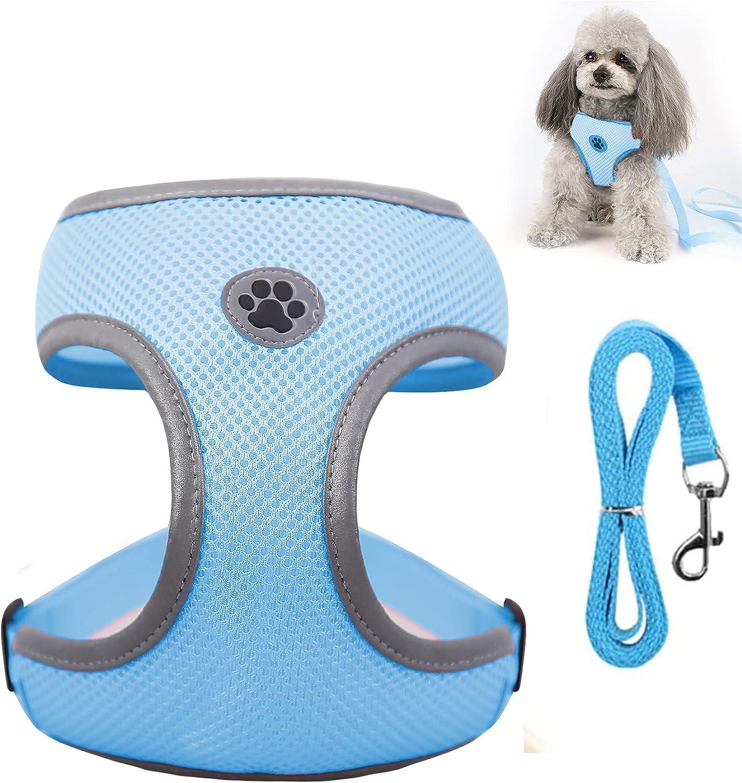 KINGLEAD Arnés para Perros Reflectante para Animales Domésticos Transpirable Ajustable con Correa Acolchada y Fácil Control Pequeños y Medianos Protección para el Pecho y Perros