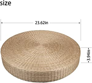 uyoyous Japanese Style Straw Flat Seat Cushion Handcrafted Breathable Straw Cushion Tatami Floor Pillow Cushion for Home Decorative Seat - 23.62 x 3.94 in