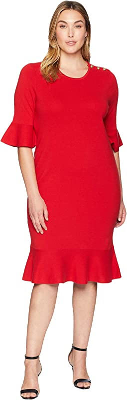 Plus Size Ruffled Cotton-Blend Dress