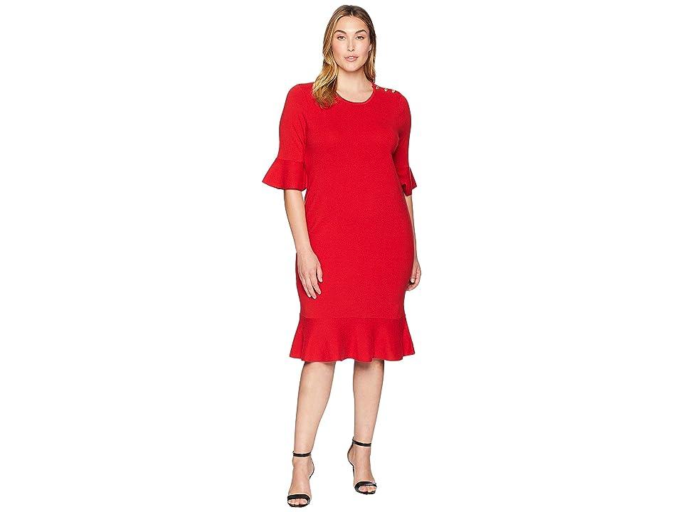 LAUREN Ralph Lauren Plus Size Ruffled Cotton-Blend Dress (Crimson) Women