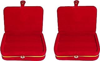 atorakushon Velvet Maroon 2 Piece Ring Earring Organizer Make Up Box Jewellery Travelling Box Wedding Set Vanity Box Women...