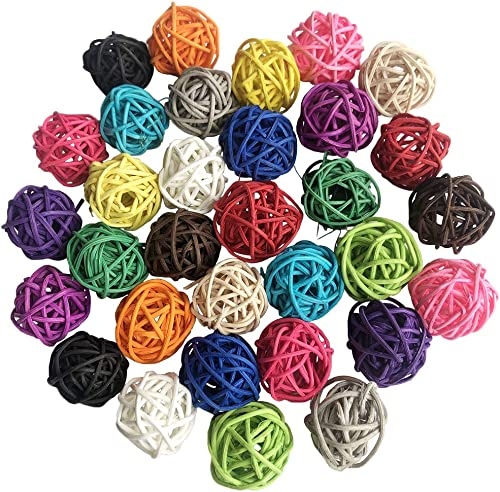 Benvo Rattan Balls 32 Pack 1.2 inch Wicker Ball Birds Toy Parrot Parakeet Chewing Toys Pet Cage Bite Toys Decorative ...