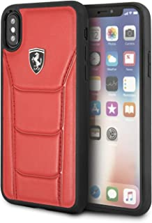 Ferrari Heritage - 488 Genuine Leather Hard Case for iPhone X/Xs - Red