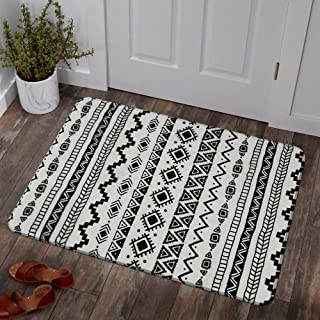 Lahome Bohemian Geometric Area Rug - 2' X 3' Faux Wool Non-Slip Area Rug Small Accent Distressed Throw Rugs Floor Carpet for Door Mat Entryway Bedrooms Laundry Room Decor (2' X 3', Black & Off-White)