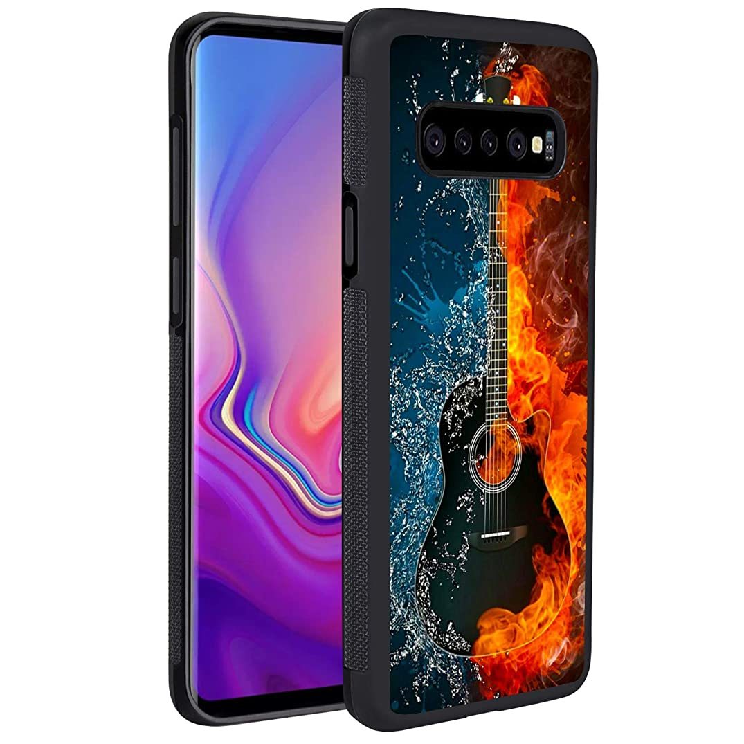 Samsung Galaxy S10 Case Guitar on Fire Water Reinforced Drop Protection Hard PC Back Flexible TPU Bumper Protective Case