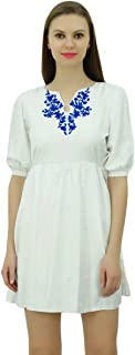 Bimba Women Chic Designer Short Summer Dress Floral Embroidery Tunic with Drawstring at Waist