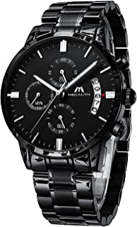 MEGALITH - Reloj de pulsera para hombre con cronógrafo de acero inoxidable, resistente al agua, analógico, de cuarzo, para hombre, con fecha automática, color negro