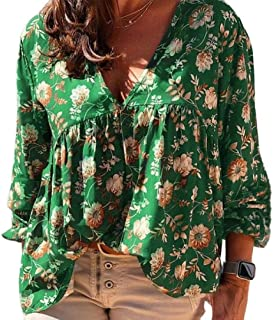 GAGA Women's Casual Pattern Printt Long Sleeve Loose Pullover Shirt Top