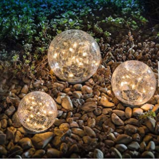 """Garden Solar Lights, Cracked Glass Ball Waterproof Warm White LED for Outdoor Pathway Walkway Patio Yard Lawn, 1 Globe (3.94"""")"""