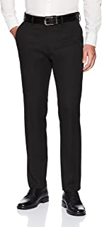 Kenneth Cole REACTION Men's 4-Way Stretch Solid Gab Slim Fit Flat Front Dress Pant
