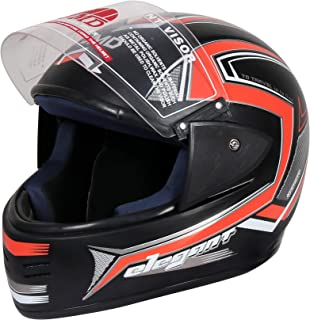 JMD HELMETS ELEGANT Decor D1 Full Face Helmet (Glossy, Large, Black-Neon and Orange)