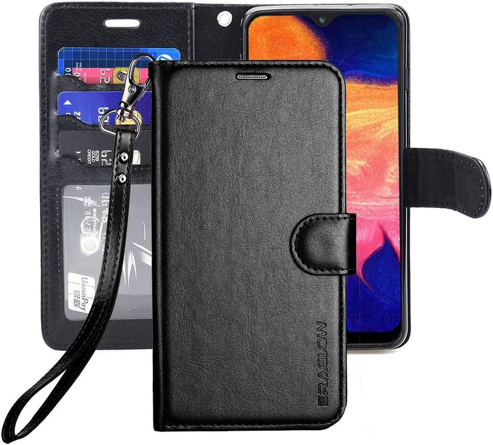 ERAGLOW Galaxy A10E Case,Galaxy A10E Wallet Case,Premium PU Leather Wallet Flip Protective Phone Case Cover w/Card Slots & Kickstand for Samsung Galaxy A10E A10 E 2019(Black)
