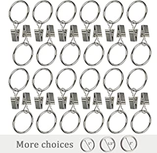 "Ogrmar 24Pcs 1"" Nickel plating Metal Curtain Clip Rings (1"")"