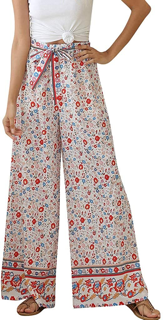 aihihe Womens Wide Leg Palazzo Pants Summer Loose Casual Beach Boho Floral Printed Bohemian Belted Pants Trousers