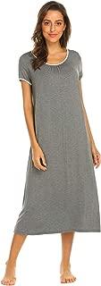 Nursing Nightgown Women's Short Sleeve Long Maternity Sleepwear for Breastfeeding S-XXL