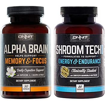 ONNIT Nootropic Stack for Focus and Energy - Alpha Brain 90ct + Shroom Tech Sport 84ct