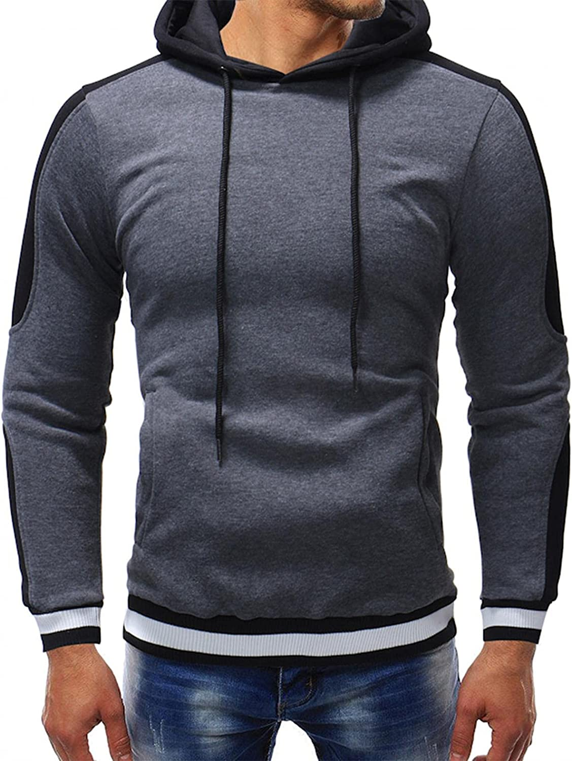 Sweatshirts for Men Cotton Blend Contrast Color Pullover Hooded Fleece Hoodies Cozy Novelty Sport Athletic Outwear