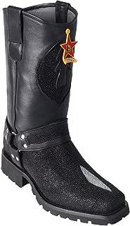 Original Black Single Pearl Stingray Leather Biker Toe Boot