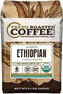 Fresh Roasted Coffee LLC, Organic Ethiopian Yirgacheffe Coffee, USDA Organic, Fair Trade, Medium Roast, Whole Bean, 2 Pound Bag