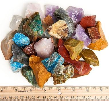 "Digging Dolls: 4 lbs Natural 12 Stone Madagascar Rough Stone Mix - Large Size - 1"" to 1.5"" Average - Raw Rough Rocks"
