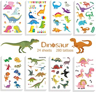 Jatidne Dinosaur Temporary Tattoos for Kids Boys Birthday Party, 300 Tattoos (Pack of 24 Sheets) Waterproof Dinosaur Tattoo Stickers, Dinosaur Party Supplies Great Children Party Favors