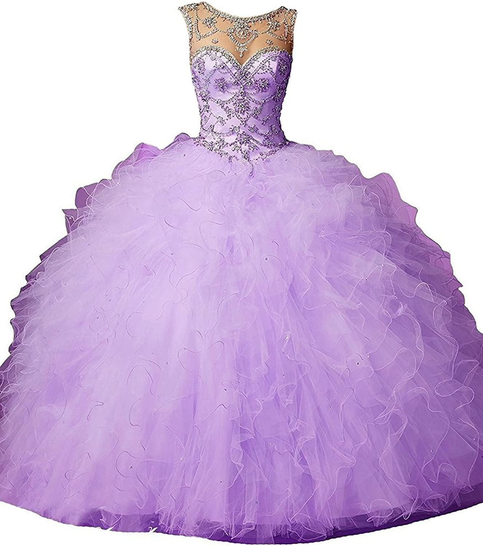 Dearta Women's Ball Gown Scoop Neck FloorLength Tulle Quinceanera Dresses