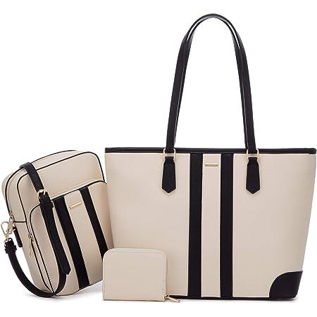 LOVEVOOK Handtasche Damen Tasche Leder Shopper Groß Schultasche Handtaschen Gross Taschen Set Bag Shopping Bag für Büro Schule Einkauf, Beige Schwarz