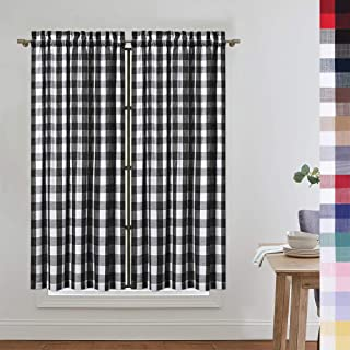 CAROMIO Cafe Curtains 45 Inch Length, Buffalo Plaid Gingham Pattern Rod Pocket Half Window Curtains for Kitchen Bathroom Window Curtain, Black and White