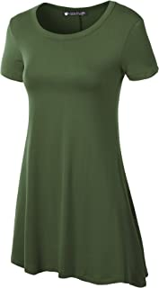 Women's Solid Short Sleeve Trapeze Tunic Top for Leggings (S~5XL)
