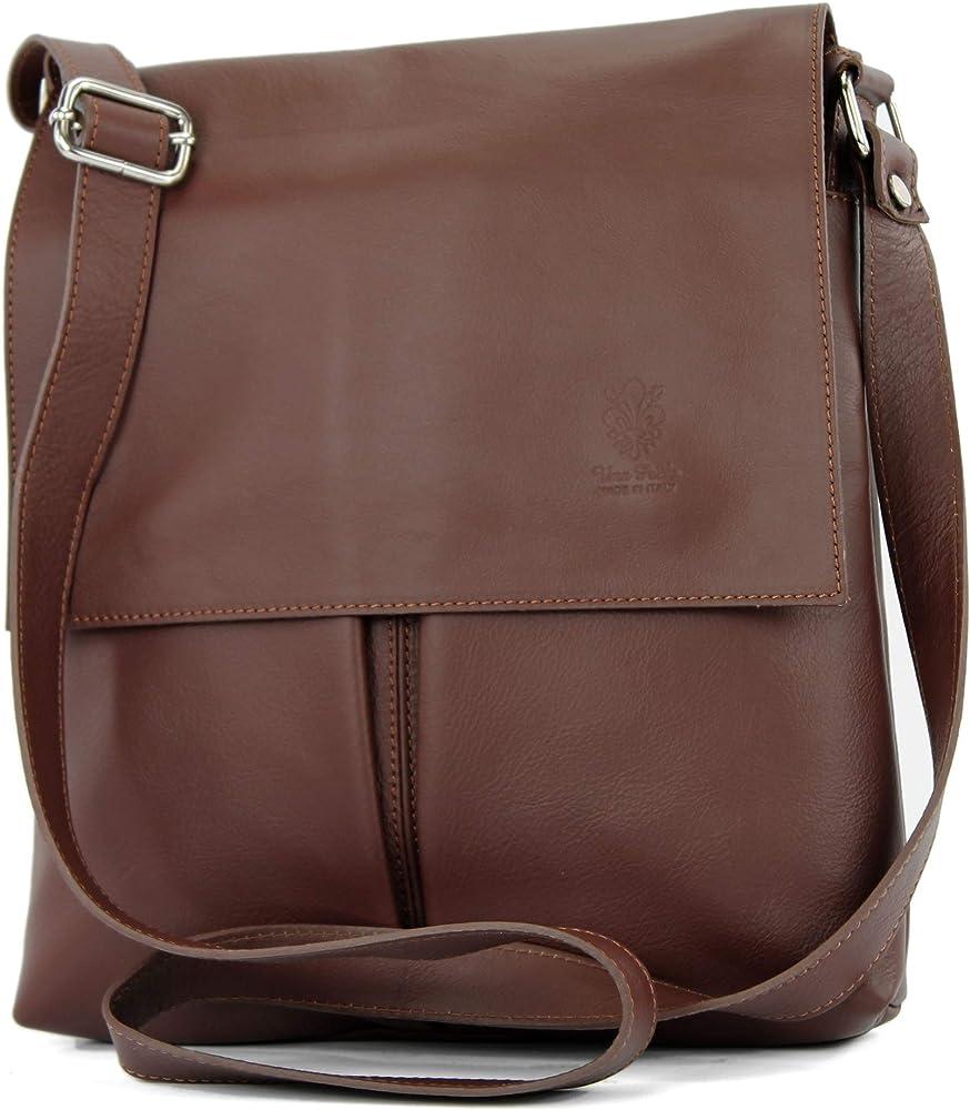 Modamoda de t75 – borsa a tracolla per donna, in  pelle morbia, marrone T75KASTANIE