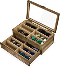 SRIWATANA Sunglasses Case Organizer for Women Men, 12 Slot Wood Eyeglass Eyewear Display Box with Glass Top, Vintage Style