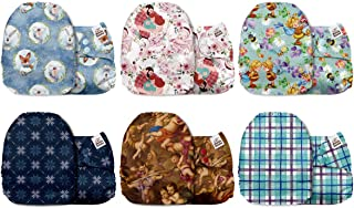 Mama Koala One Size Baby Washable Reusable Pocket Cloth Diapers, 6 Pack with 6 One Size Microfiber Inserts (Stay Simple)