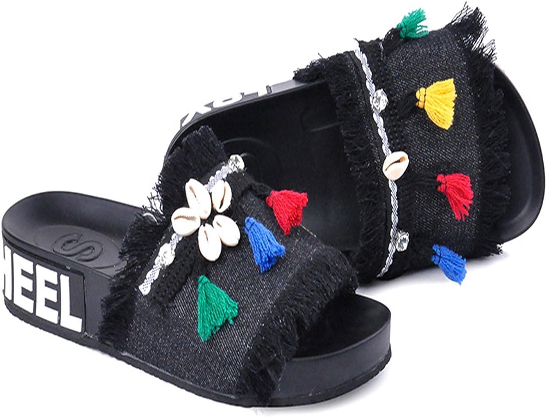 Mageed New Summer Slippers Women Fashion Denim Cartoon Shell Funny Slippers Beach Open Toe Flip Flops