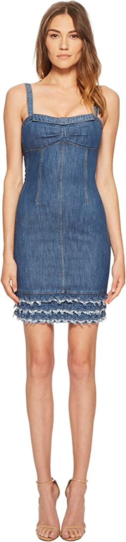 Boutique Moschino Denim Dress with Denim Fringe