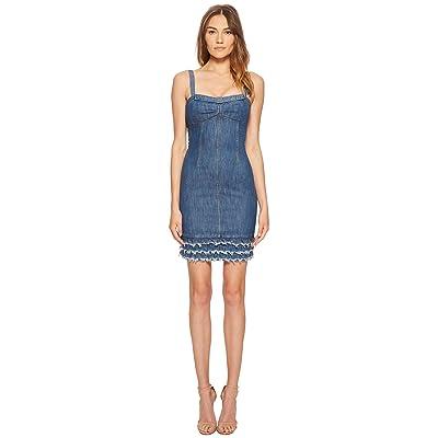 Boutique Moschino Denim Dress with Denim Fringe (Fantasy Print Blue) Women