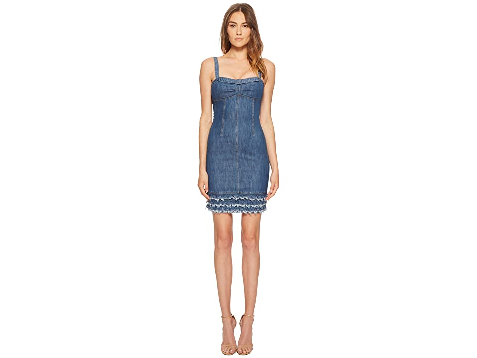 Boutique Moschino Denim Dress with Denim Fringe (Fantasy Print Blue) Women