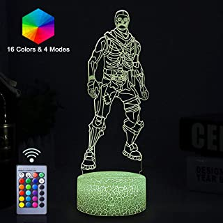 Remote Control 3D Night Lights Lamp 16 Colors Changeable Vision Effect Desk Table Light Home Bedroom Décor Fortress Game Theme Cool Gifts for Girls Boys Kids Child Young Adults (Skull Trooper(Remote))