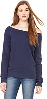 Canvas Womens Sponge Fleece Wide Neck Sweatshirt (7501)- NAVY,M
