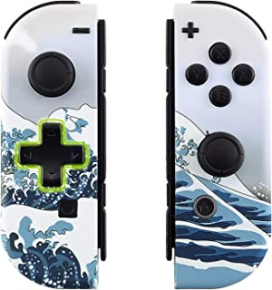 eXtremeRate The Great Wave Soft Touch Joycon Handheld Controller Housing (D-Pad Version) with Full Set Buttons, DIY Replacement Shell Case for Nintendo Switch Joy-Con – Console Shell NOT Included