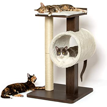 """PetFusion Modern Cat Tree House & Tall Scratching Post (33"""" Tall). Modern and Neutral Platforms, Espresso Finish"""
